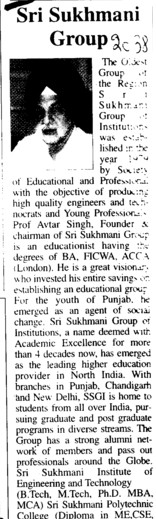 Profile of Sukhmani Group (Sri Sukhmani Group of Institutes)