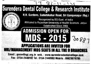 MDS course (Surendera Dental College & Research Institute)