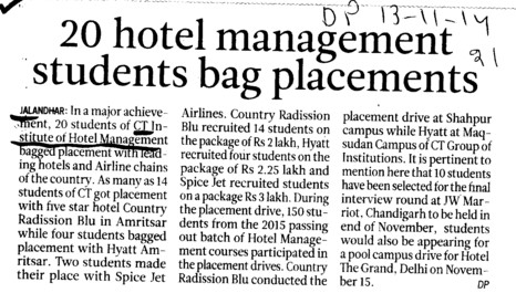 20 hotel management students bag placementsa (CT Institute of Hotel Management and Catering Technology)