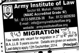 Few seats vacant for Migration of BA LLB (Army Institute of Law)