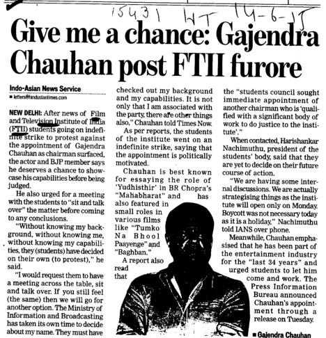 Give me chance, Gajendra Chauhan post FTII furore (Film and Television Institute of India)