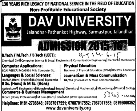 BSc in Biotechnology (DAV University)