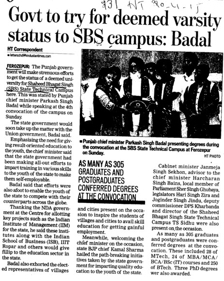 Govt to try for deemed varsity status to SBS campus, Badal (Shaheed Bhagat Singh State (SBBS) Technical Campus)