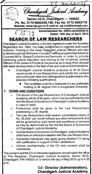 Search for law researchers (Chandigarh Judicial Academy)