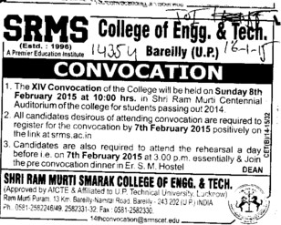 14th Annual Convocation held (SRMS College of Engineering & Technology)