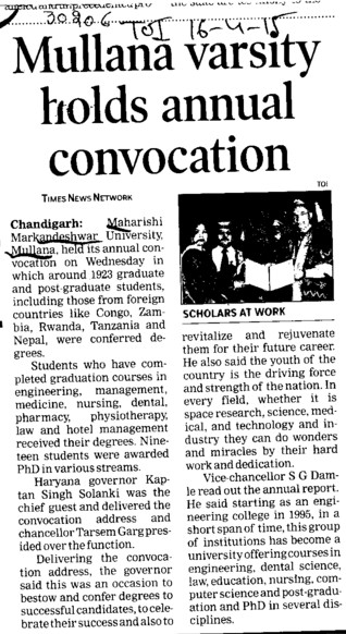 Mullana varsity holds annual convocation (Maharishi Markandeshwar University)