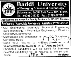 Asstt Professor in PCM (Baddi University of Emerging Sciences and Technologies)