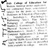 Asstt Professor for Sociology (DAV College of Education for Women)