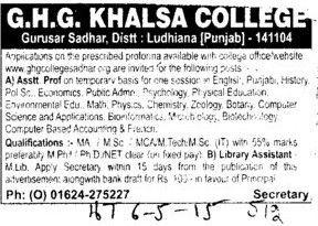 Asstt Professor on temporary basis (GHG Khalsa College)