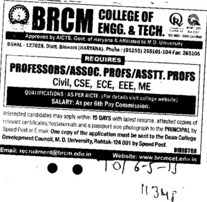 Associate Professor for ECE and CSE (BRCM College of Engineering and Technology Bahal)