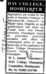 Asstt Professor in Agriculture (DAV College of Education)
