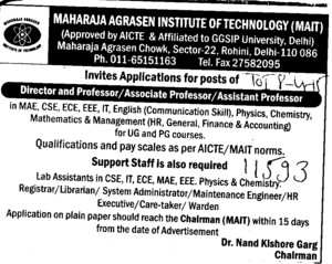 Asstt Professor for EEE (Maharaja Agrasen Institute of Technology)