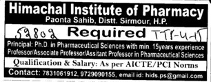 Principal and Associate Professor (Himachal Institute of Pharmacy)