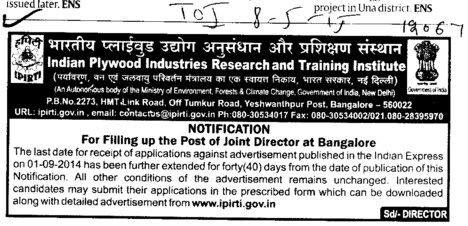 Joint Director (Indian Plywood Industries Research and Training Institute (IPIRTI))