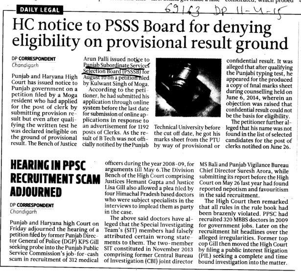 HC notice to PSSS Board (Punjab Subordinate Services Selection Board (PSSSB))
