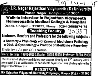 Lecturer, Reader and Professor (JRN Rajasthan Vidyapeeth University)