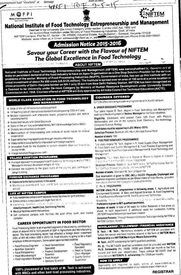 B Tech in Food Tech (National Institute of Food Technology Entrepreneurship and Management (NIFTEM))