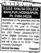 Principal required (SGGS Khalsa College)