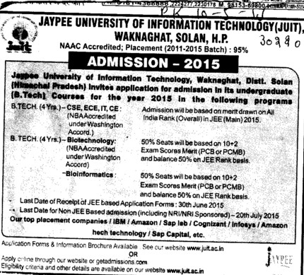B Tech in Biotechnology (Jaypee University of Information Technology (JUIT))
