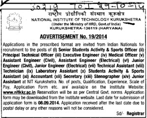 Executive Engineer (National Institute of Technology (NIT))