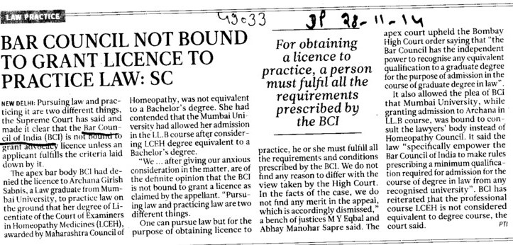 BCI not bound to grant licence to practice Law, SC (Bar Council of India (BCI))