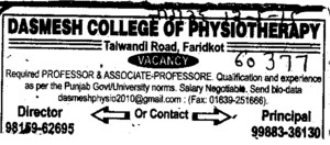 Professor (Dashmesh College of Physiotherapy)