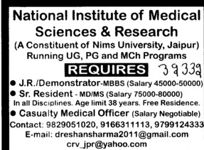 Junior Residents (NIMS Medical College and Hospital)