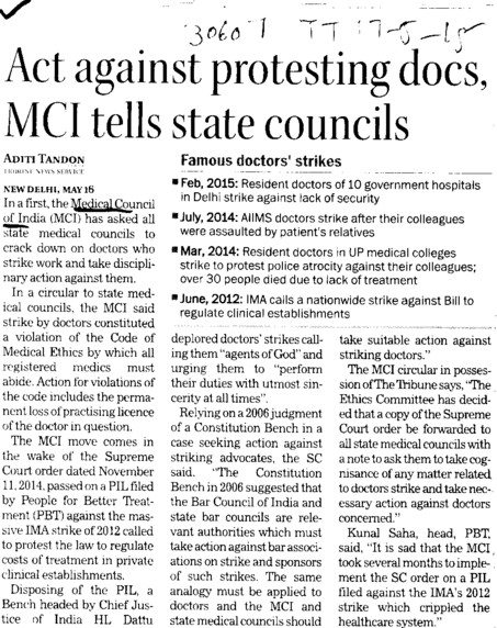 Act against protesting docs, MCI tells state councils (Medical Council of India (MCI))