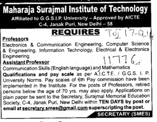 Asstt Professor for Communication skill (Maharaja Surajmal Institute of Technology)