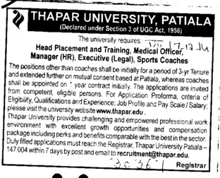 Medical OFficer (Thapar Institute of Engineering and Technology University)