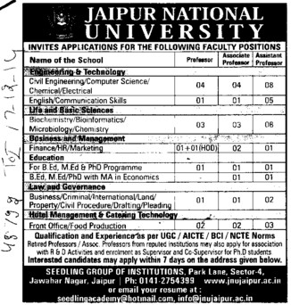 Asstt Professor for Marketing (Jaipur National University)