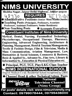Medical Officer (NIMS University)