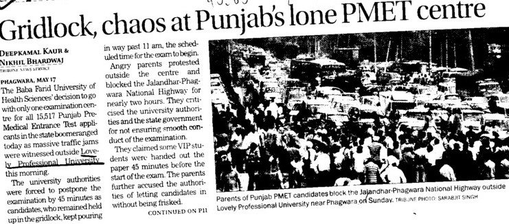 Gridlock, chaos at Punjab lome PMET  centre (Lovely Professional University LPU)