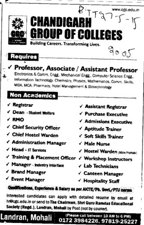 Associate Professor for Mechanical Engineering (Chandigarh Group of Colleges)