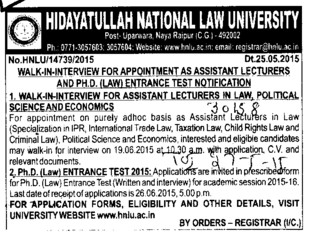 Asstt Lecturer in Law (Hidayatullah National Law University (HNLU))