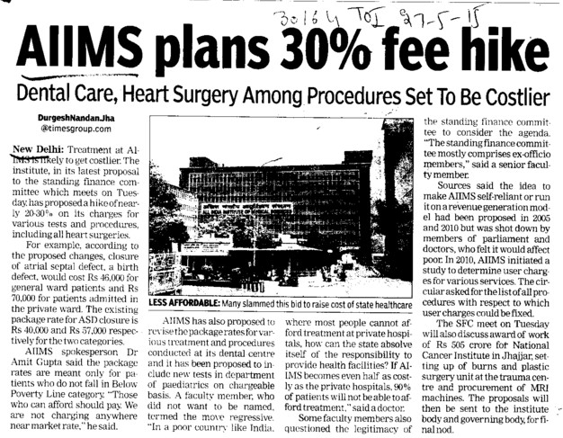 AIIMS plans 30 percent fee hike (All India Institute of Medical Sciences (AIIMS))