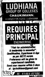 Principal required (Ludhiana Group of Colleges (LGC) Chowkimann)
