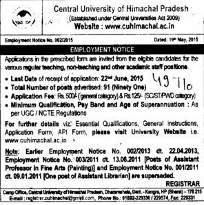 FAcult required (Central University of Himachal Pradesh)