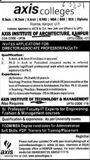 Director and Associate Professor (Axis Institute of Architecture)