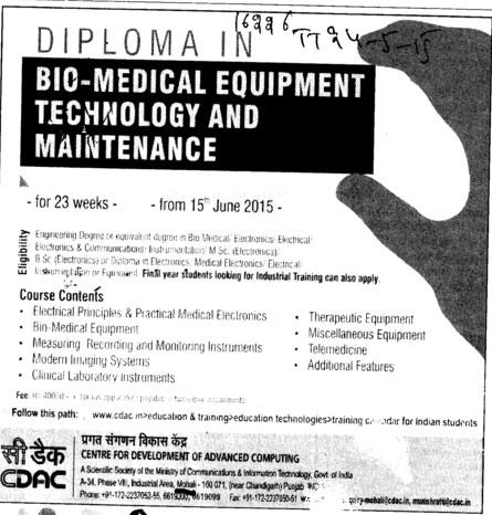 Diploma in Biomedical equipment (Centre for Development of Advanced Computing)