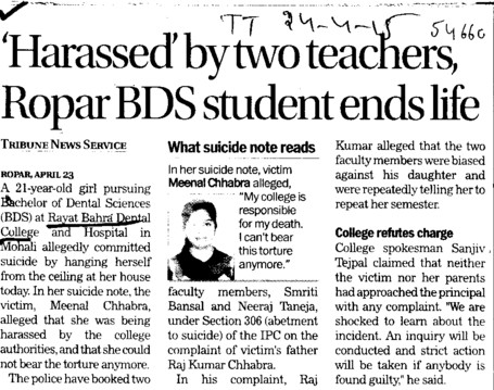Harassed by two teachers, Ropar BDS student ends life (Rayat Bahra Dental College)