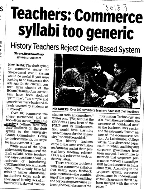 Teachers, Commerce syllabi too generic (Delhi University)