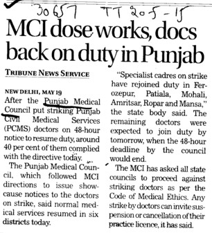 MCI dose works (PUNJAB MEDICAL COUNCIL)