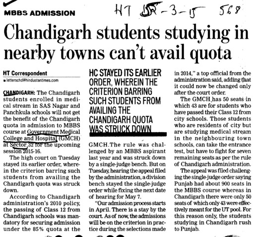 Chandigarh students studying in nearby towns cant avail quota (Government Medical College and Hospital (Sector 32))