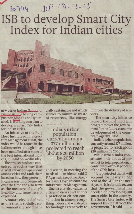 ISB to develop Smart city index for Indian sites (Indian School of Business Chandigarh Mohali Campus)