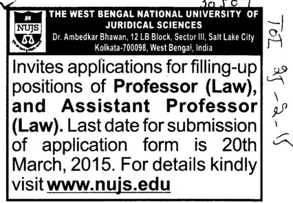 Asstt Professor for Law (West Bengal National University of Juridical Sciences)
