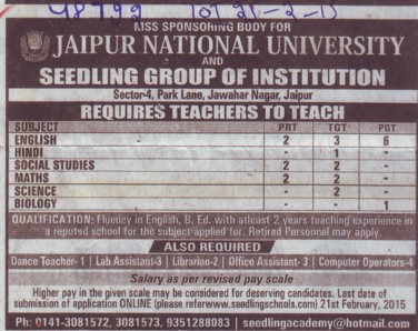 Faculty for Biology (Jaipur National University)