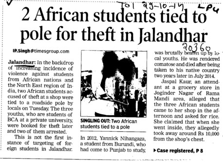 2 African students tied to pole for theft in Jalandhar (Lovely Professional University LPU)