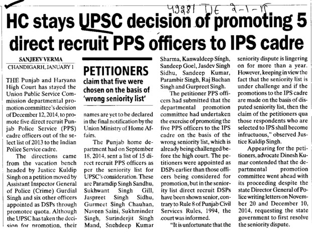 HC stays UPSC decision of promoting 5 direct recruit PPS officers to IPS cadre (Union Public Service Commission (UPSC))