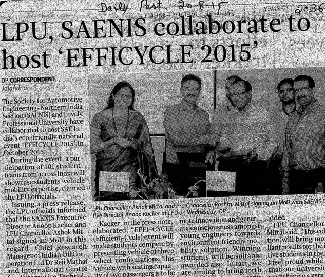 LPU saenis collaborate to host efficycle 2015 (Lovely Professional University LPU)